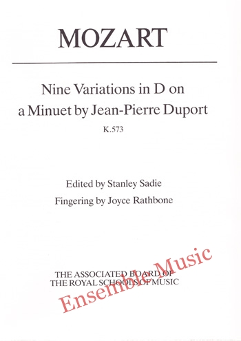 Mozart Nine Variations in D on a Minuet by Jean Pierre Duport K573