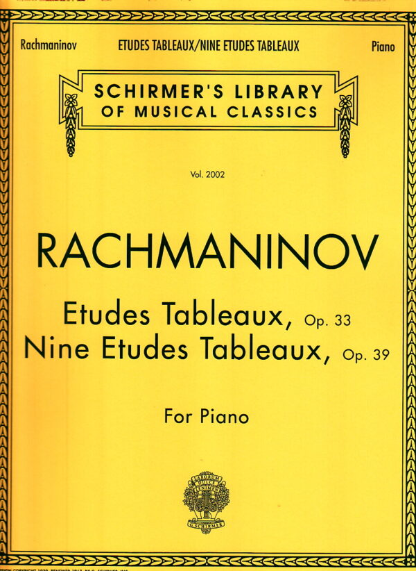 Rachmaninoff Etudes Tableaux Op. 33 Nine Etudes Tableaux Op. 39